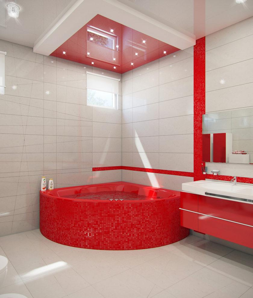 Ванная комната в красных тонах дизайн