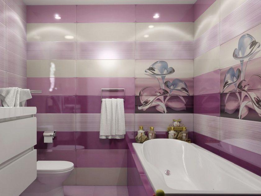 Дизайн ванной фото сиреневого цвета плитка