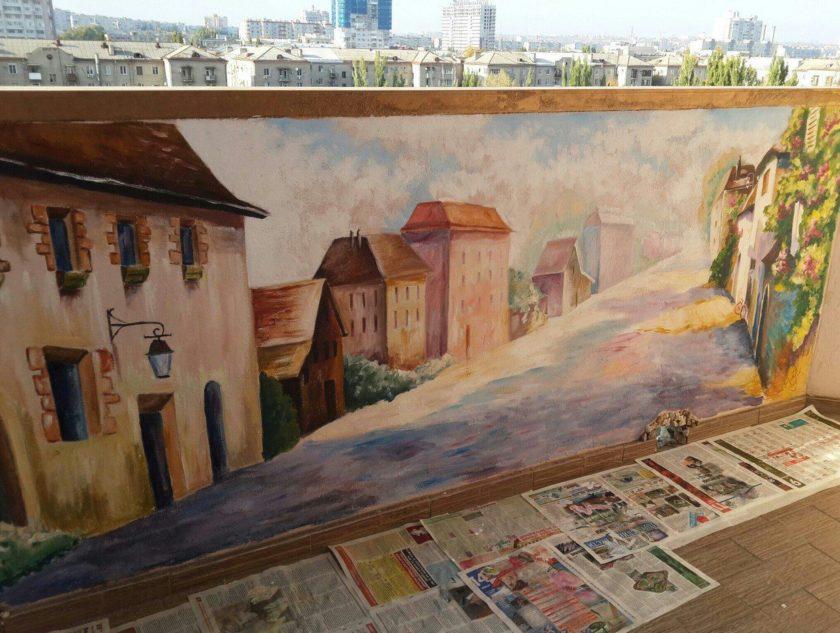 Роспись на балконе- прованс - фрилансер анна минаева minaeva.
