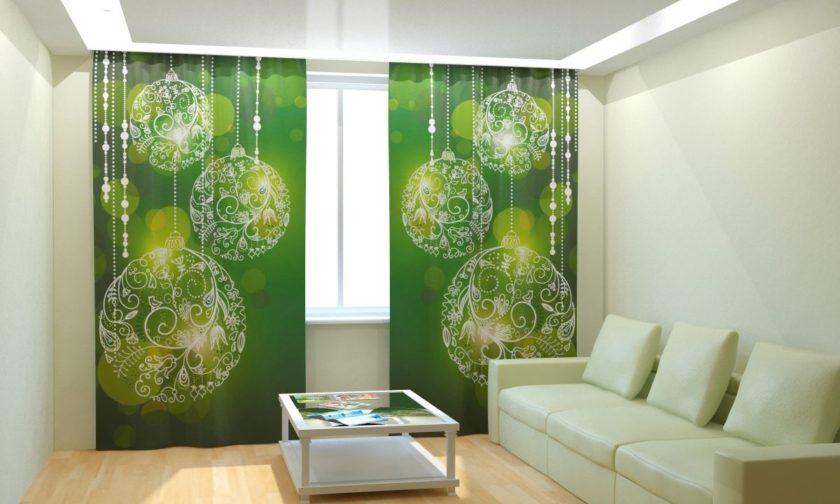 Шторы зеленого цвета в интерьере фото