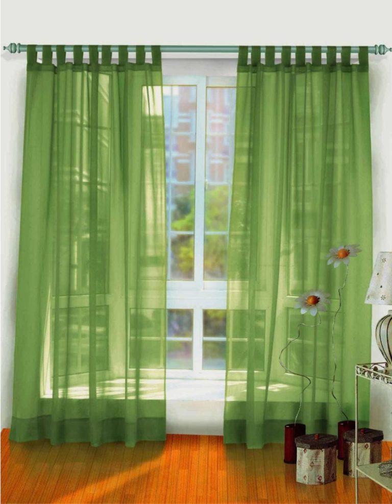 Дизайн штор в зеленом цвете