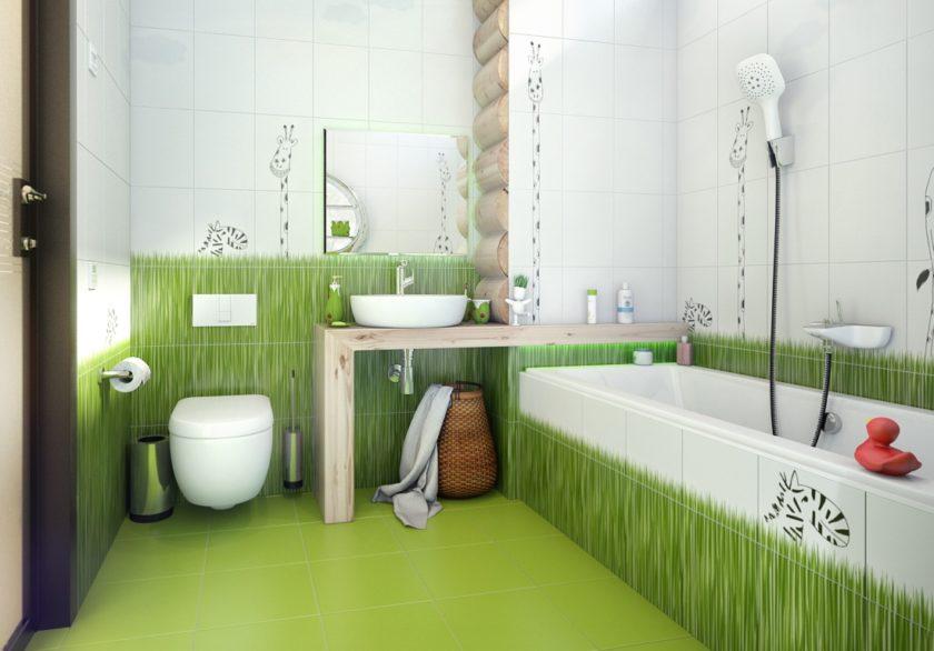 дизайн зеленая фото ванная