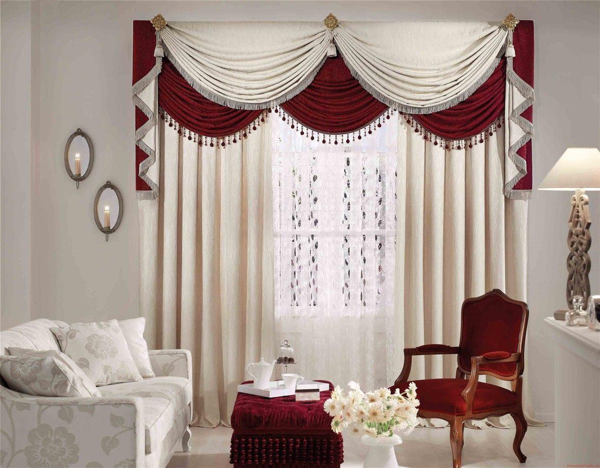 Шторы для зала в красном и белом