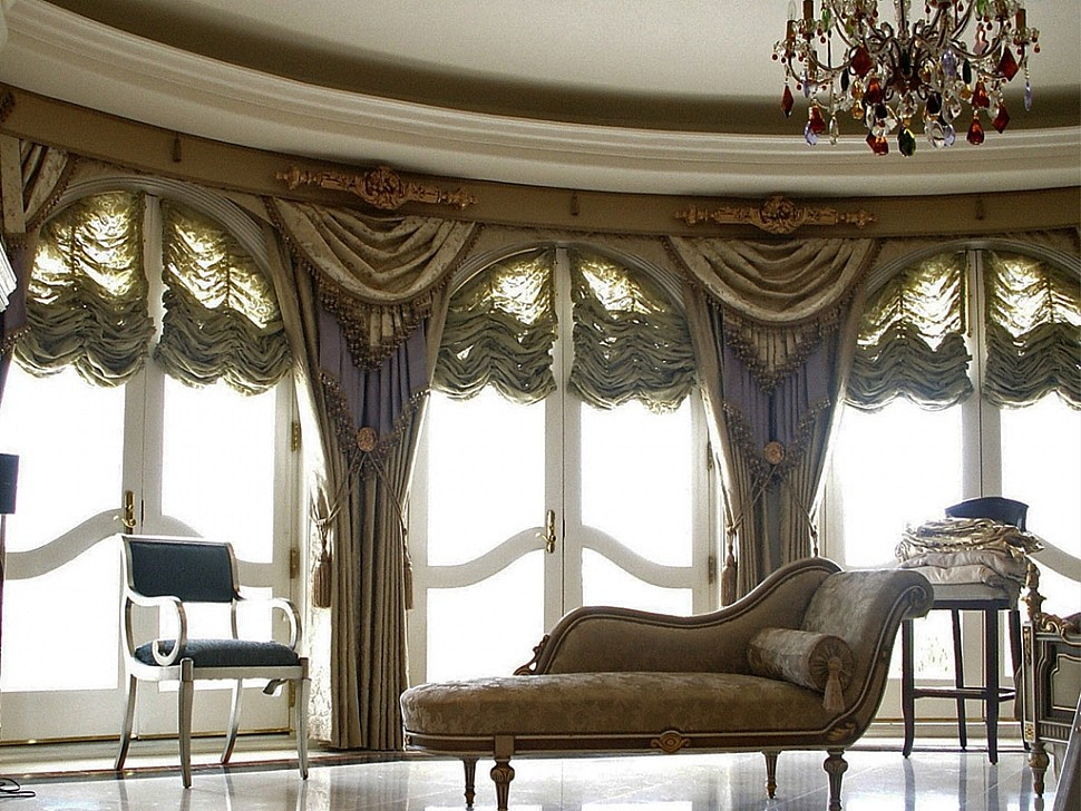Красивые шторы в зал в стиле модерн.
