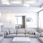 Белый зал, в стиле минимализм.