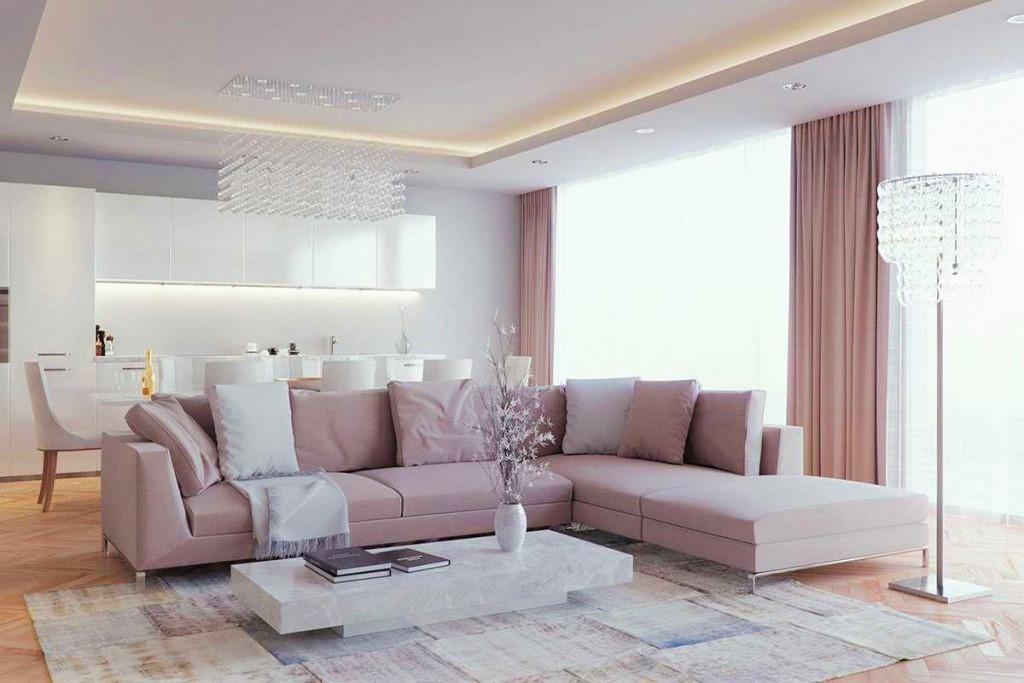 Нежно-розовый комплект штор для гостиной в стиле минимализм.