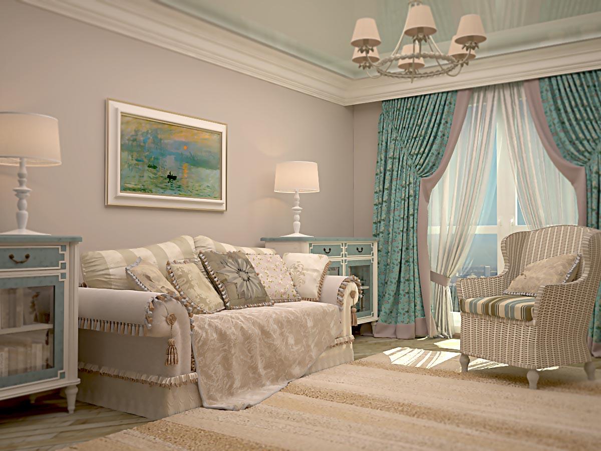 Бирюзовые шторы в гостиной.